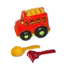 """Игрушка Colorplast  Автобус """"Бусик №1"""" + лопатка и грабельки (красный) 0084"""