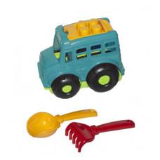 """Игрушка Colorplast Автобус """"Бусик №1"""" + лопатка и грабельки (бирюзовый) 0084"""