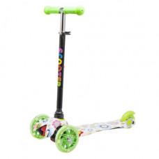 Самокат трехколесный  Best Scooter Цветы зеленый КВ-007