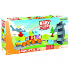 Baby Blocks Мои первые кубики Железная дорога 1,45м 36 деталей 41460