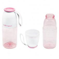 Спортивная бутылка для воды 2 в 1 Lindo 450 мл  розовая 8557