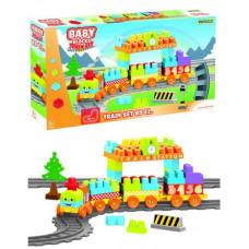 Конструктор Wader Baby Blocks Мои первые кубики Железная дорога 89 деталей 41480