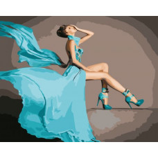 Картина по номерам Art Story Бирюзовое платье AS0568