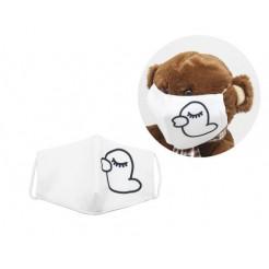 Многоразовая 4-х слойная защитная маска Miravox Утка размер 3, 7-14 лет (белая) (mask2)