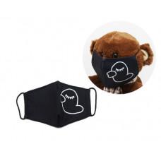Многоразовая 4-х слойная защитная маска Miravox Утка размер 3, 7-14 лет (черная) (mask2)