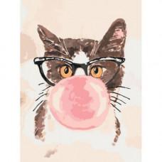 Картина по номерам Идейка Кот хипстера Bubble Gum 30х40 КНО4050