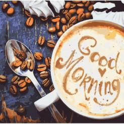 Картина за номерами Ідейка Ранок починається з кави 40х40 КНО5523