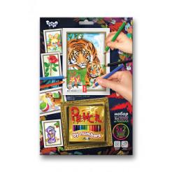 Набір картин за номерами Dankotoys Pencil by numbers Тигр 30 х 21 (PBN-01-07)