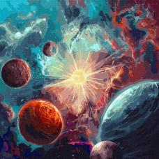 Картина по номерам Идейка Вокруг солнца с красками металик 50x50см KHO9540
