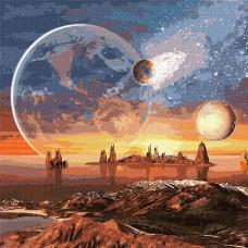 Картина по номерам Идейка Космическая пустыня 50 x 50см KH9541 с красками металлик