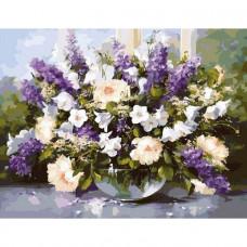 Картина по номерам Идейка Большой букет в стеклянной вазе 2  KHO1050