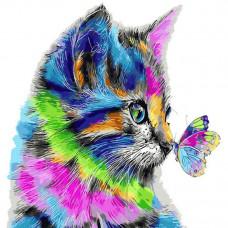 Картина по номерам Dankotoys Радужный котенок 40 x 40 см (KpNe-02-08)